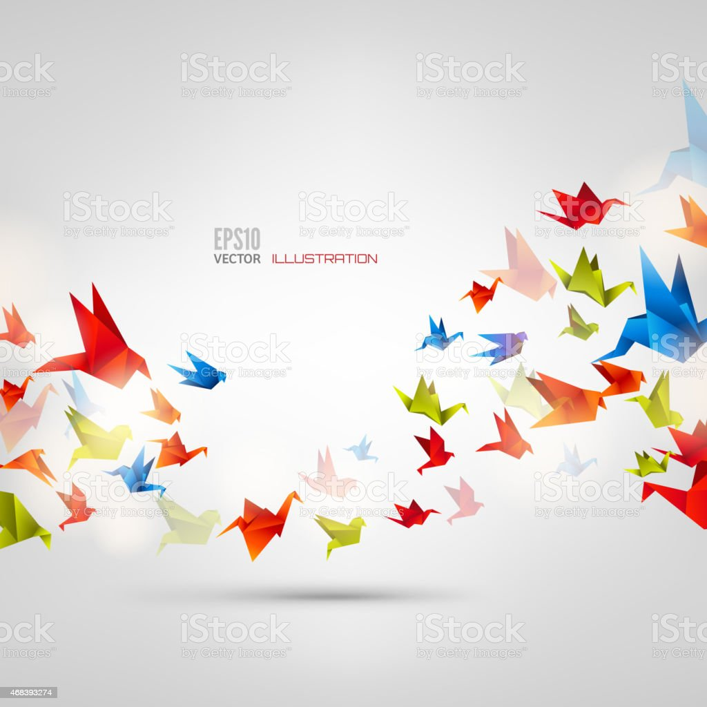 Origami paper bird on abstract background vector art illustration
