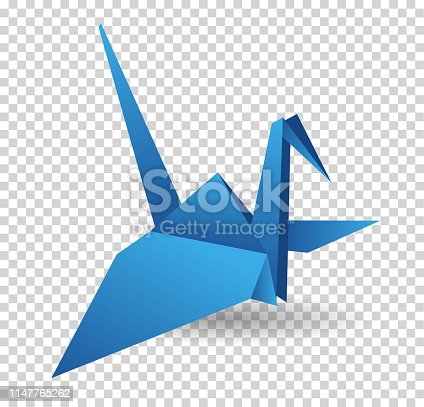 Origami paper bird. Vector illustration. Polygonal shape. Art of paper folding. Japan origami crane, pigeon. Flying bird on abstract background. History of origami. Paper figures in flight