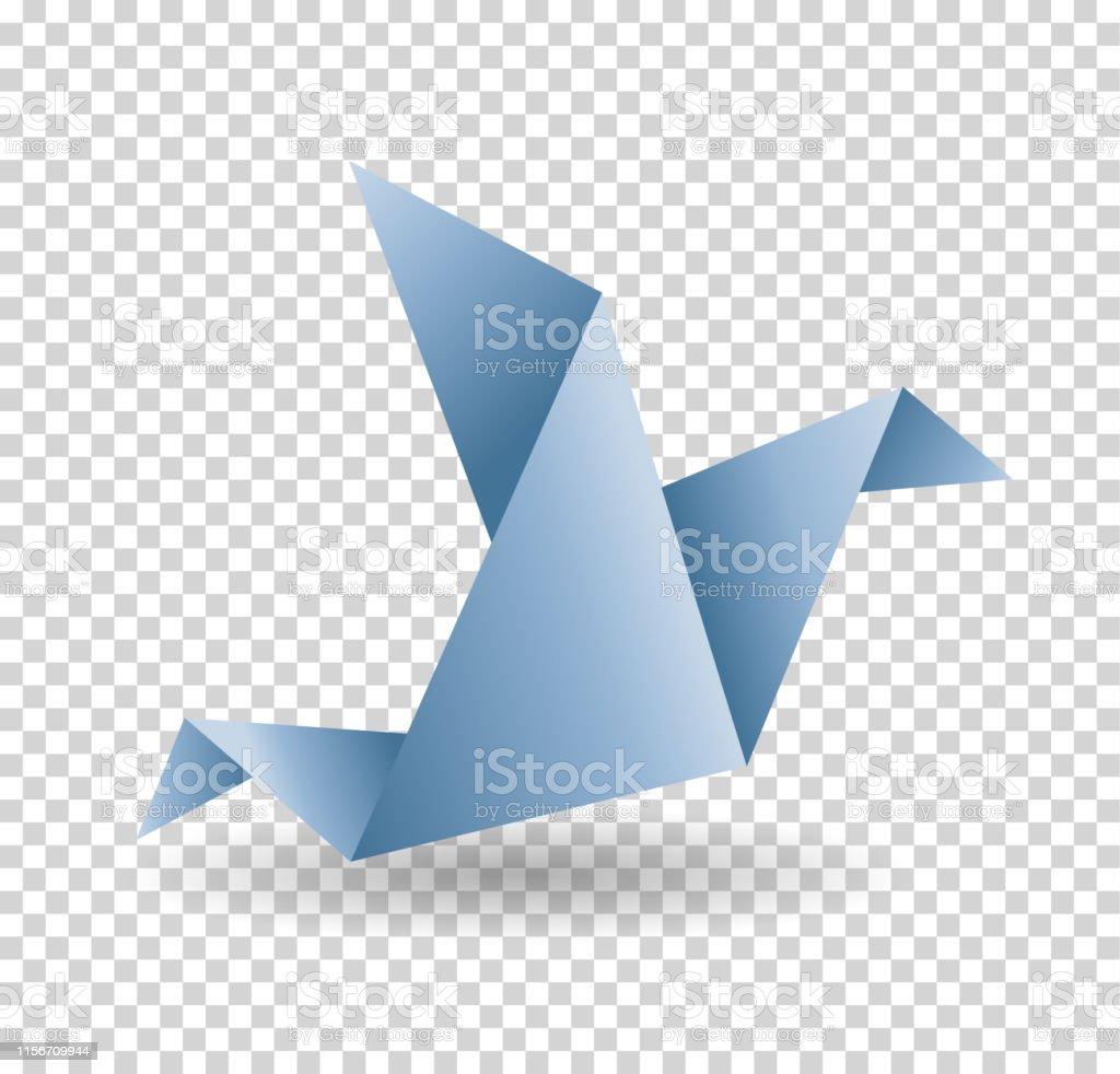 Origami paper bird. Vector illustration. Polygonal shape. Art of...
