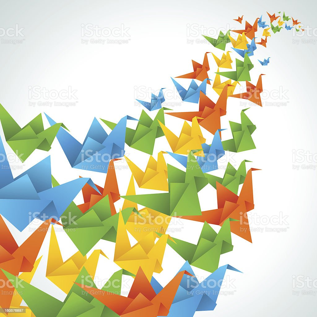 Origami paper birds flight abstract background. royalty-free stock vector art