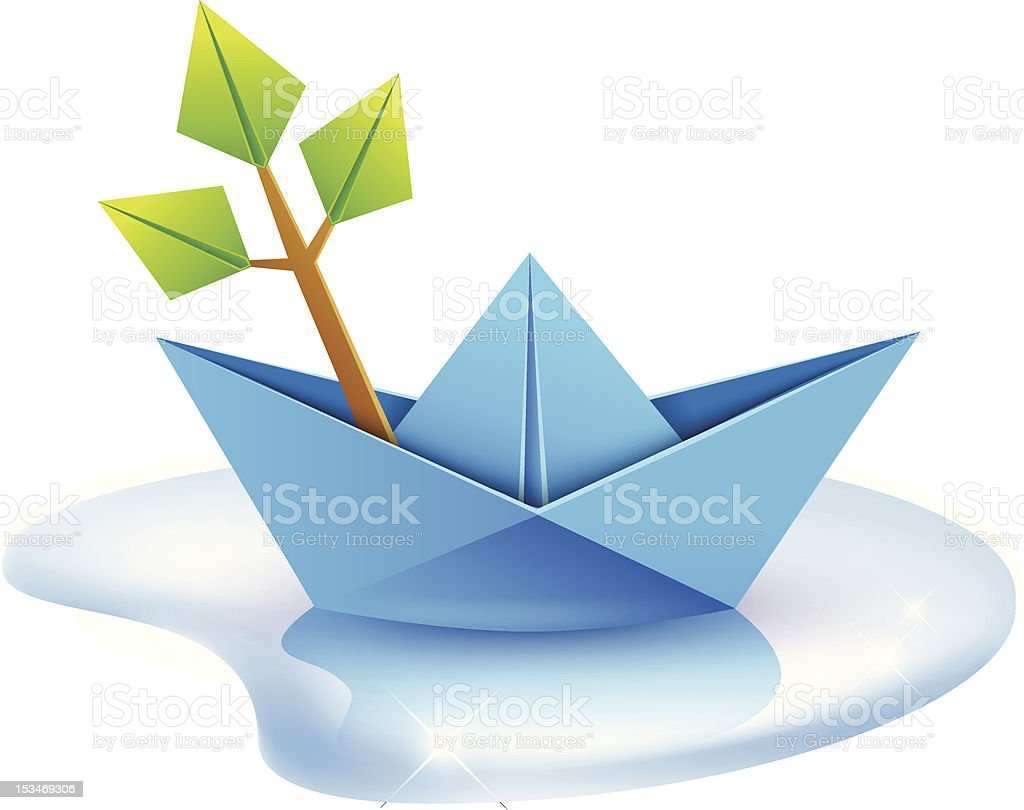 Origami Paper Boat And A Tree Branch Royalty Free