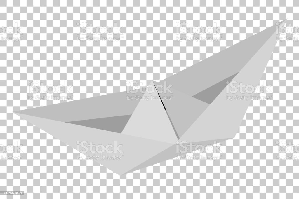 Origami Paper Boat At Transparent Effect Background Royalty Free