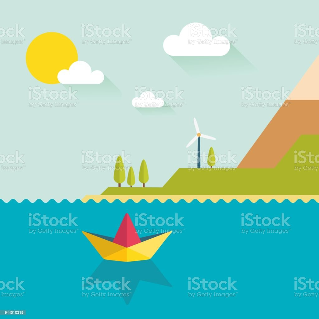 島でフラットなデザインで折り紙...