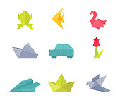 Origami, paper crafts vector illustrations set. Frog, fish, swan and dove. Traditional oriental art, artistic hobby. Car, ship, plane and flower. Handmade chinese decorations. Animals and vehicles