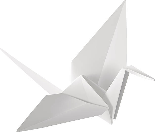 Origami Paper Crane Vector Illustration Art