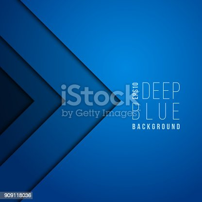 istock Origami paper modern minimal art vector blue background. Contemporary futuristic wallpaper 909118036