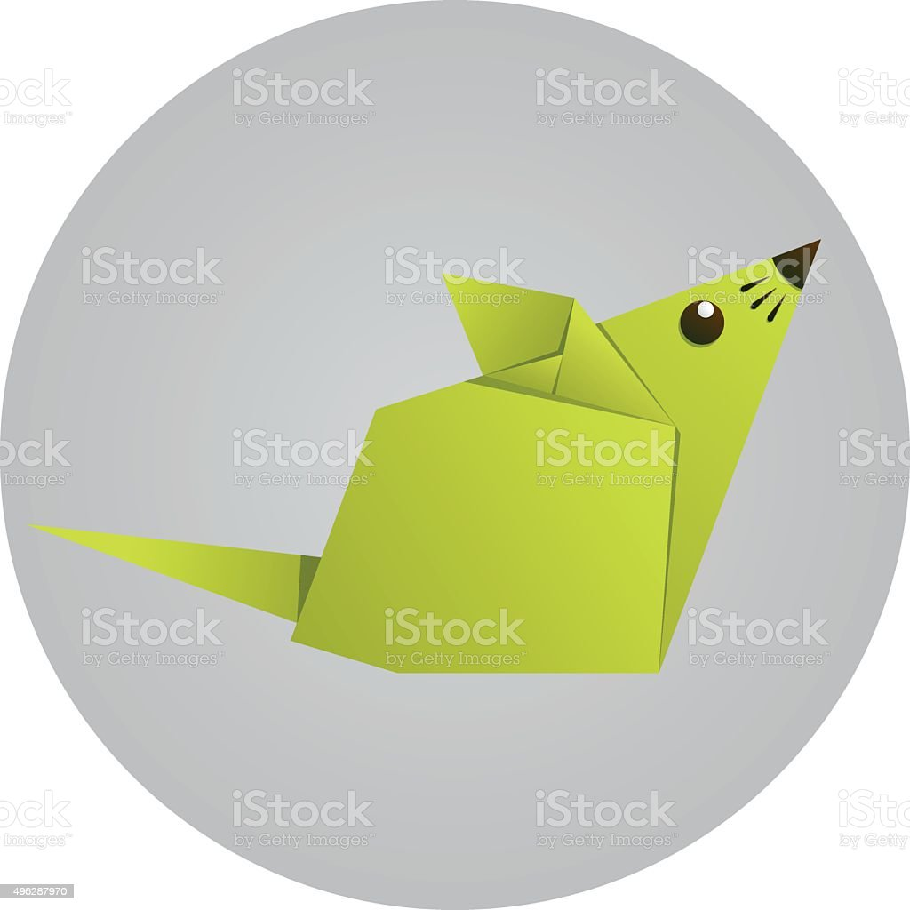 Origami Paper Mouse Stock Vector Art More Images Of 2015 496287970 Cute Diagram Royalty Free Amp
