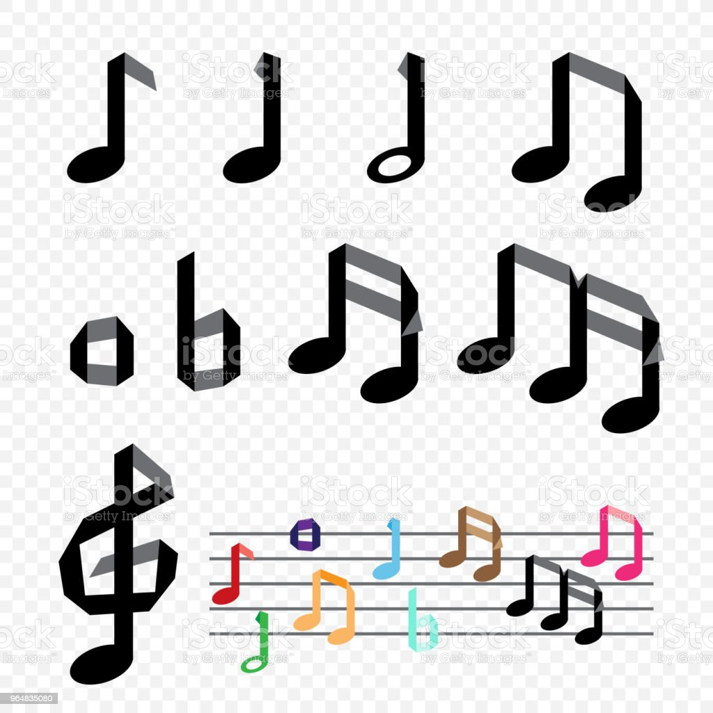 Origami paper music note on transparent background. Handmade musical...