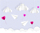 Origami paper plane. Dash line in the sky. Love card. Vector illustration