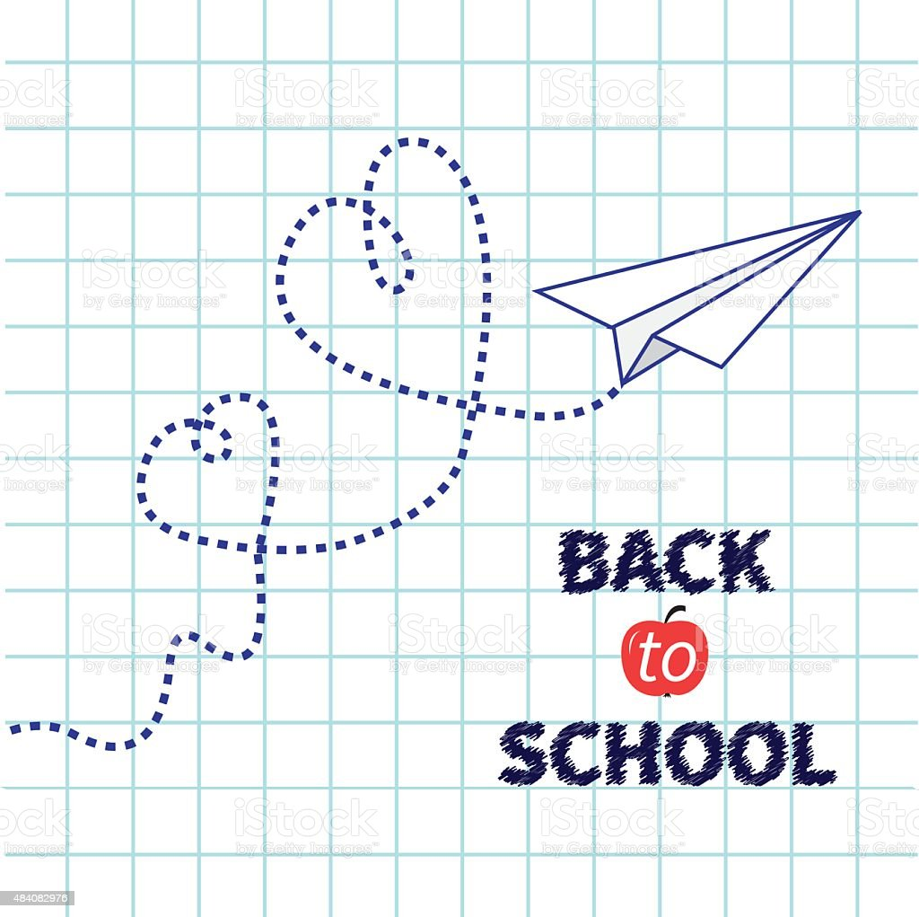 Origami Paper Plane Exercise Book Back To School Flat Design