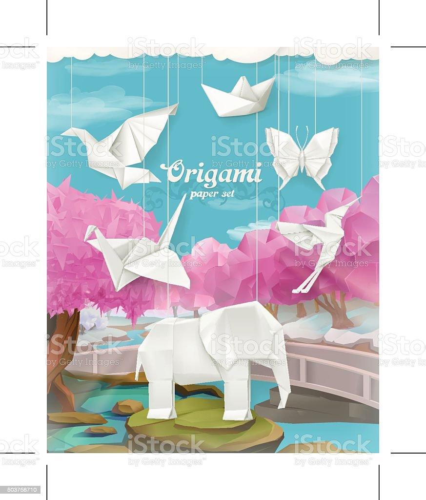 Origami paper set, vector background vector art illustration