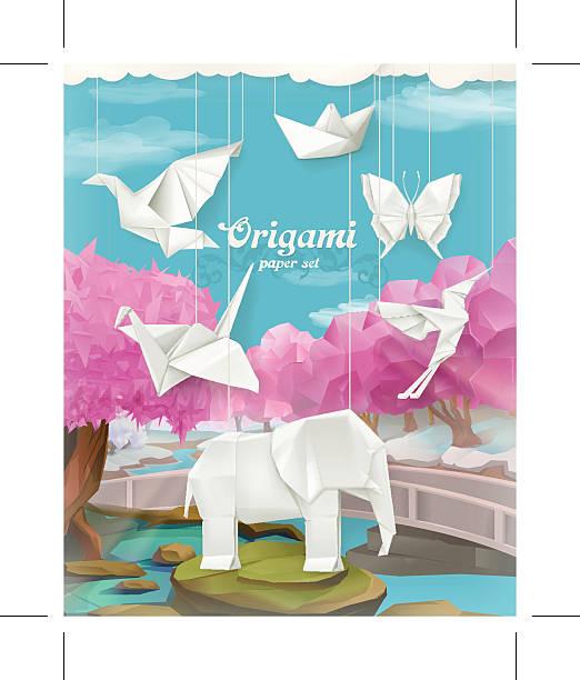origami papier set, vektor-hintergrund - elefantenkunst stock-grafiken, -clipart, -cartoons und -symbole