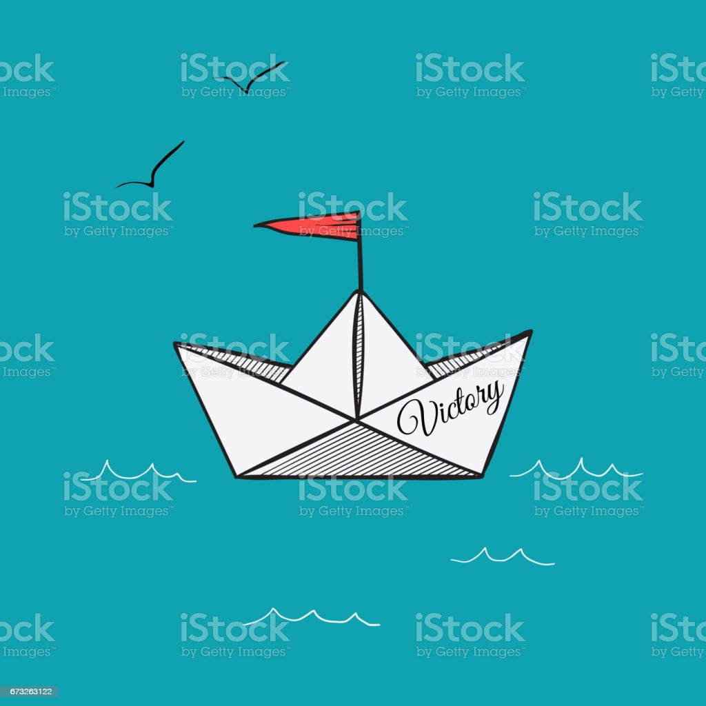 Origami paper ship hope on sea waves vector illustration vector art illustration