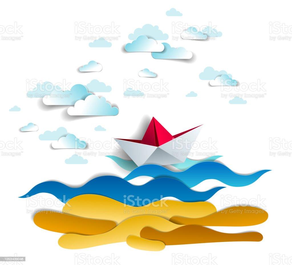 Origami Papier Bateau Jouet Nager Dans Les Vagues De Locean Illustration De Vecteur Magnifique De Pittoresque Paysage Marin Avec Le Bateau Jouet Flottant Dans La Mer Et Les Nuages Dans Le Ciel