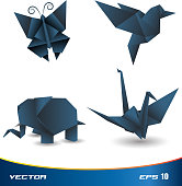 Origami paper vector collection animal