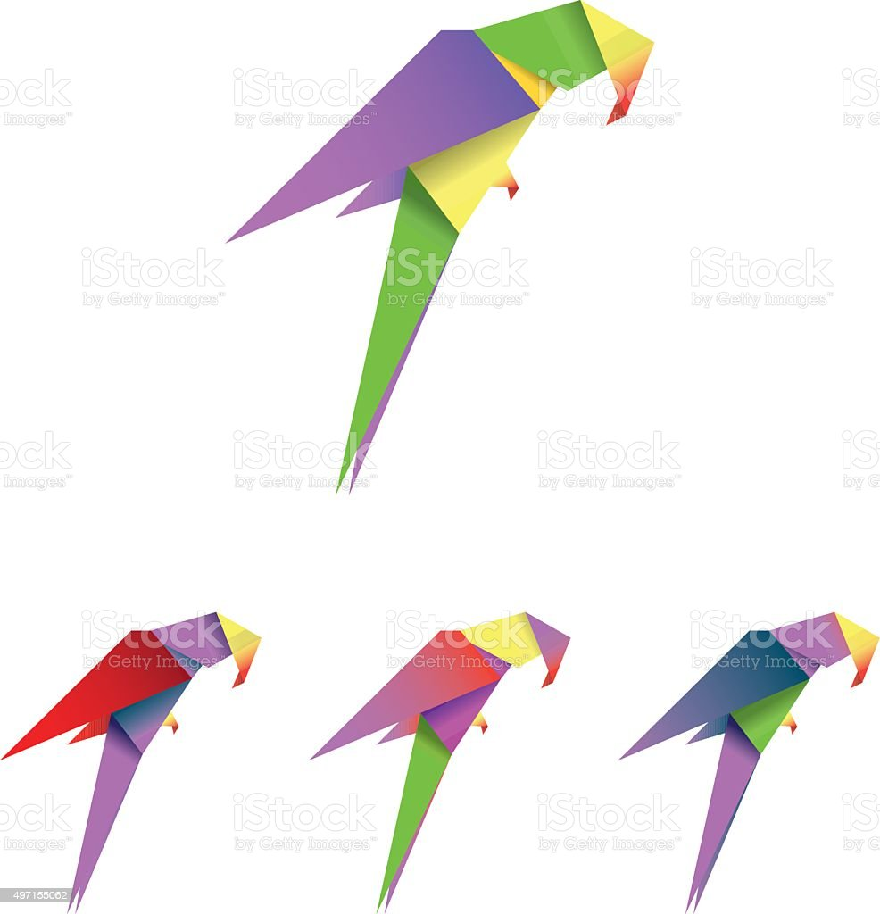origami parrot stock vector art amp more images of 2015