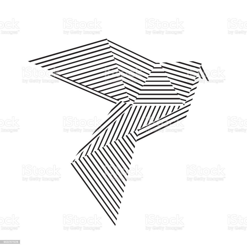 Origami pigeon vector art illustration