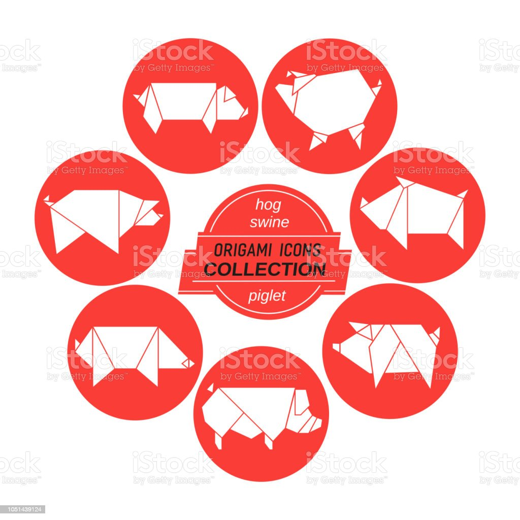 Collection de cochons origami - Illustration vectorielle