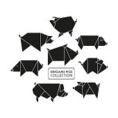 Origami pigs icon set. Abstract black pig, boar sign silhouette isolated on white. Freehand drawn cut out paper domestic swine animal emblem. Template geometric logo design. Vector symbol illustration