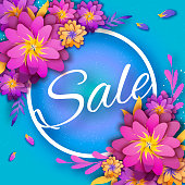 Origami Pink Spring Sale Flowers Banner. Paper cut Floral card. Spring blossom. Happy Womens Day. 8 March. Text. Seasonal holiday on blue. Trendy decor. Spring Sale Banner, Poster, Flyer, voucher discount. Vector