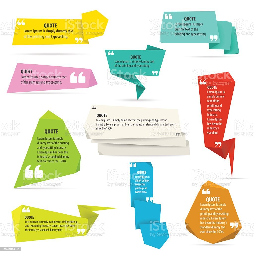 origami quote shapes template set vector text information