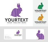 Origami Rabbit vector illustration with business card