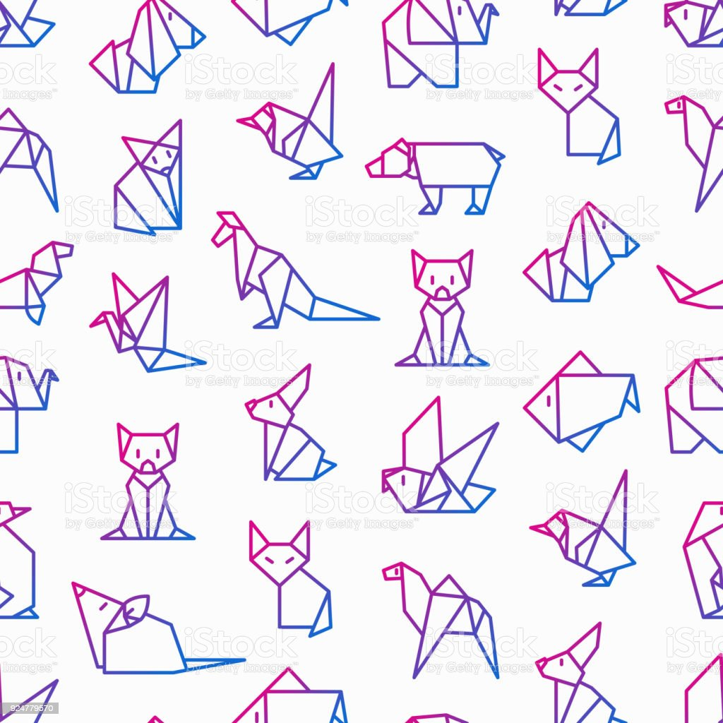Origami seamless pattern with thin line icons penguin camel fox origami seamless pattern with thin line icons penguin camel fox bear jeuxipadfo Gallery