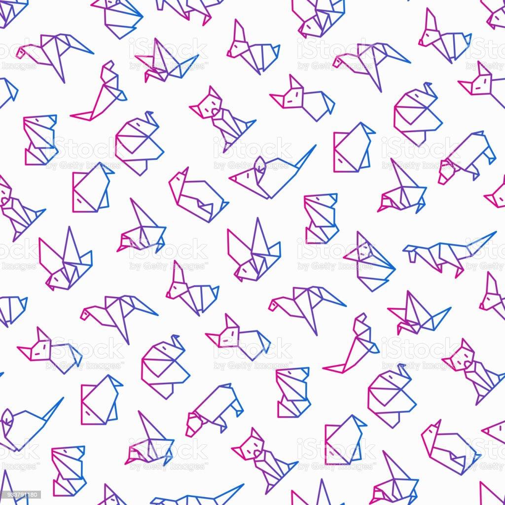 Ilustración de Origami Patrón Sin Fisuras Con Los Iconos De La ...