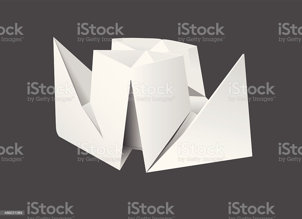 origami ship vector art illustration