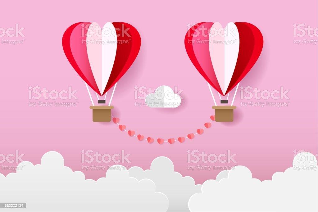 Arte En Papel Origami Sonrisa Corazón Globos En El Cielo Amor Y San ...