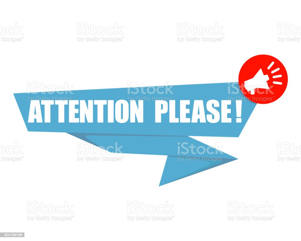 origami speech bubble and megaphone with text 'Attention please!' vector art illustration