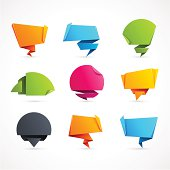 Set of 9 Colorful Origami Speech Bubbles - Vector Illustration.