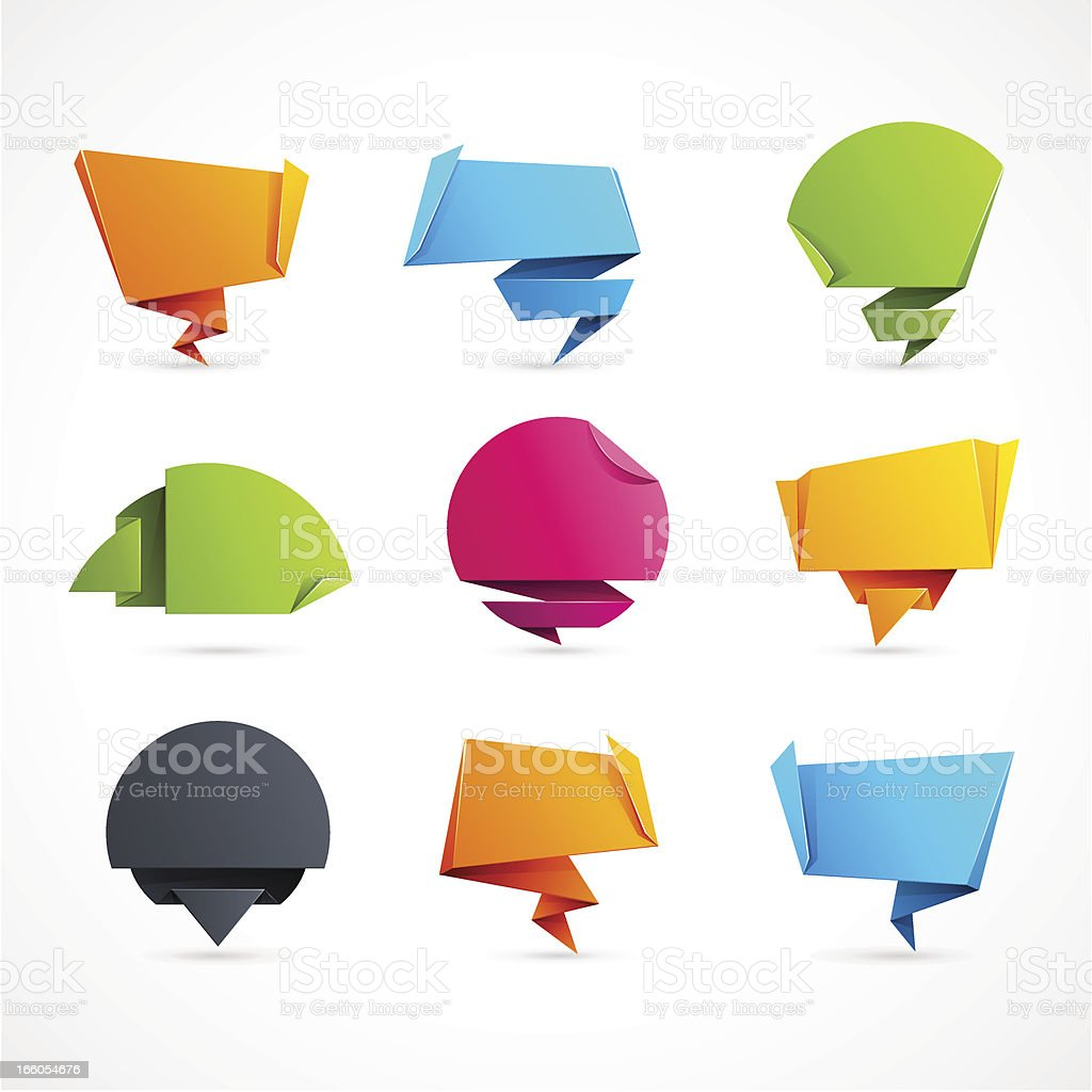 Origami Speech Bubbles vector art illustration