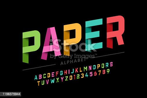 Origami style font design, paper folding alphabet letters and numbers vector illustration