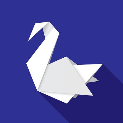 Origami Swan Icon Flat
