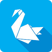 Vector illustration of a blue origami swan icon in flat style.