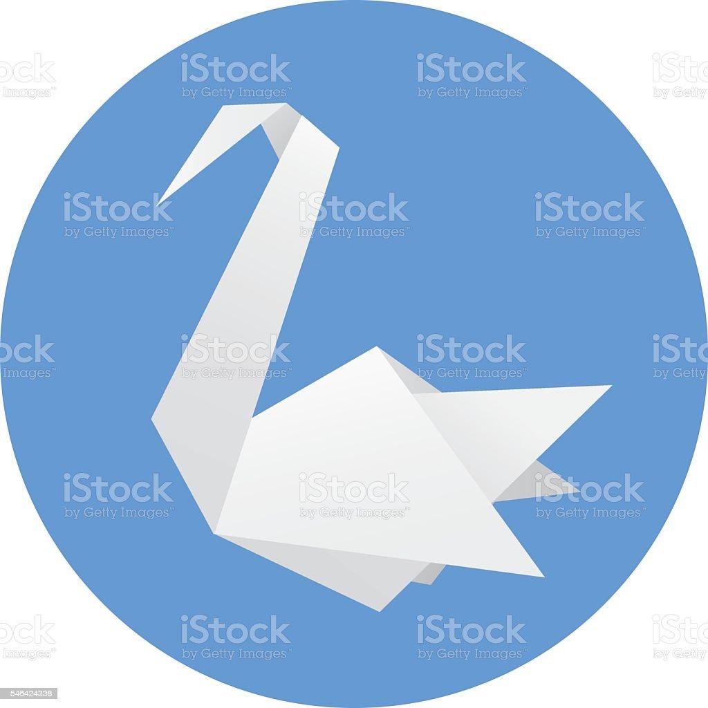 Origami Swan vector art illustration