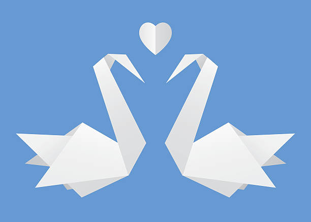 ilustrações de stock, clip art, desenhos animados e ícones de origami swans in love - bills couple