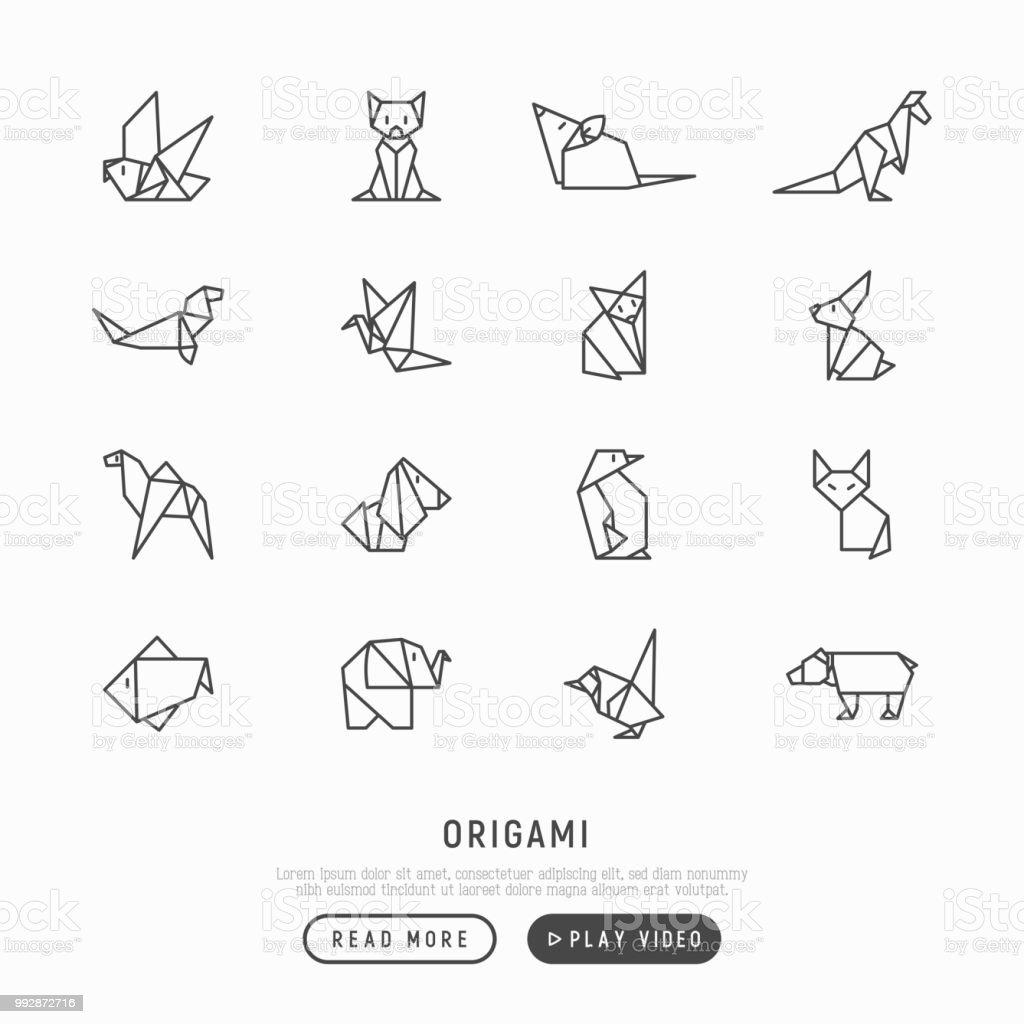 Ilustración de Conjunto De Iconos De Delgada Línea Origami Pingüino ...