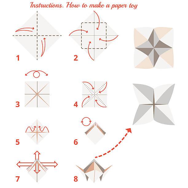 origami spielzeug - fotografieanleitungen stock-grafiken, -clipart, -cartoons und -symbole