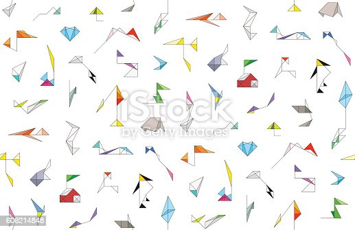 Seamless pattern with cute wireframe origami toys and abstract geometric shapes. Endless background. Colorful wallpaper for children's room.