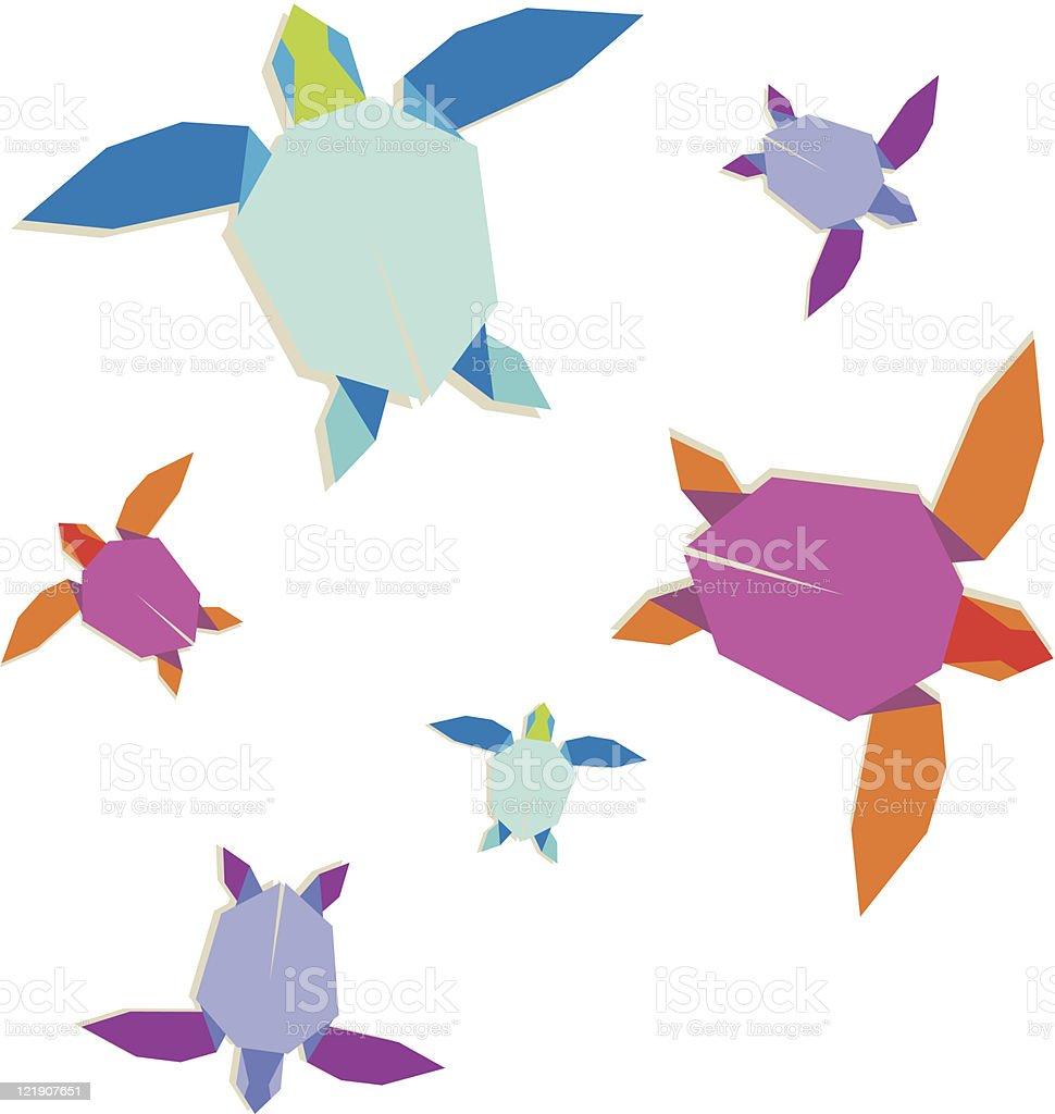 Origami turtle family vector art illustration