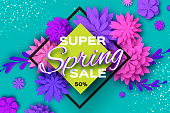 Origami violet Super Spring Sale Flowers. Butterfly. Paper cut Floral card. Happy Womens Day. 8 March. Text. Seasonal holiday on blue. Rhombus frame. Spring Sale Poster, Flyer, voucher discount. Vector