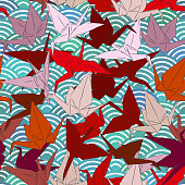 Origami white paper cranes set sketch seamless pattern. line Nature oriental background with japanese wave circle pattern burgundy maroon pink brown colors on green blue background. Vector