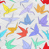 Origami white paper cranes set sketch seamless pattern. line Nature oriental background with japanese wave circle pattern red yellow blue green purple colors on grey background. Vector