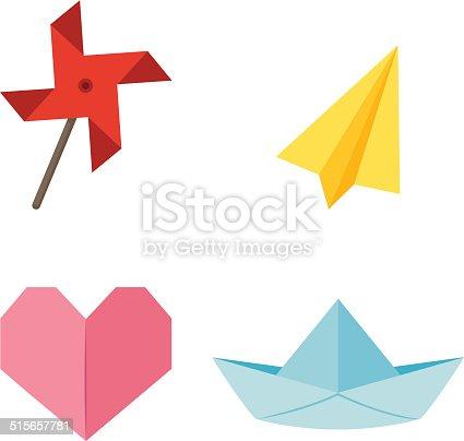 origami windmill,aircraft,heart,ship vector