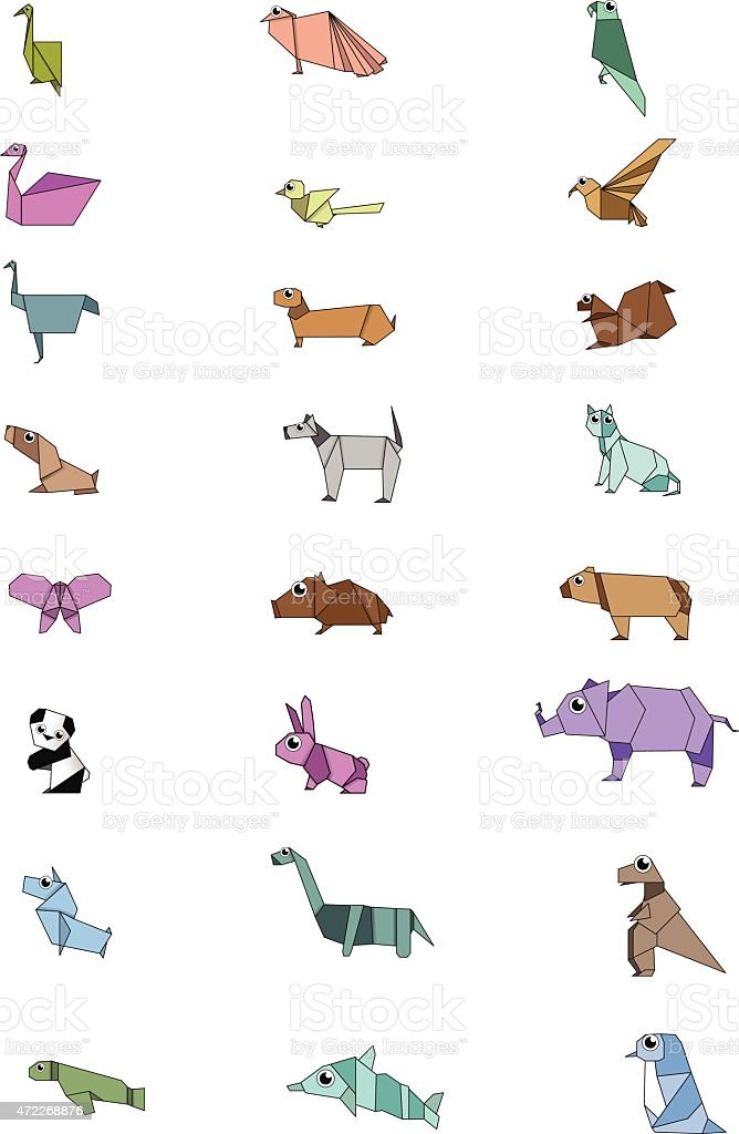 Origamies-Design Animal-séries - Illustration vectorielle