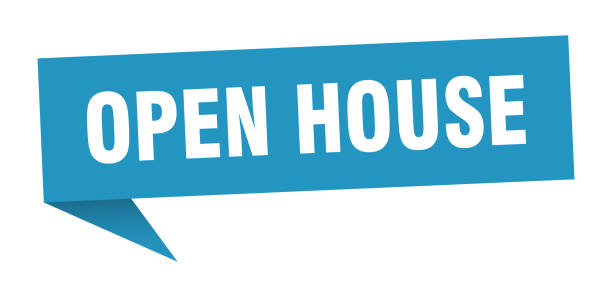 OrigamiSign2Blue open house speech bubble. open house sign. open house banner fully unbuttoned stock illustrations