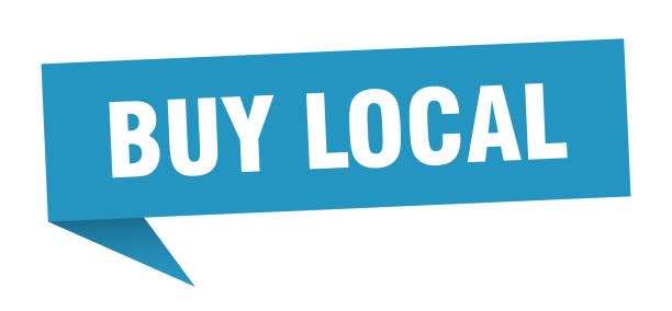 OrigamiSign2Blue buy local speech bubble. buy local sign. buy local banner ethical consumerism stock illustrations