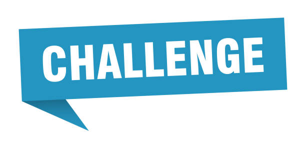 OrigamiSign2Blue challenge speech bubble. challenge sign. challenge banner challenge stock illustrations